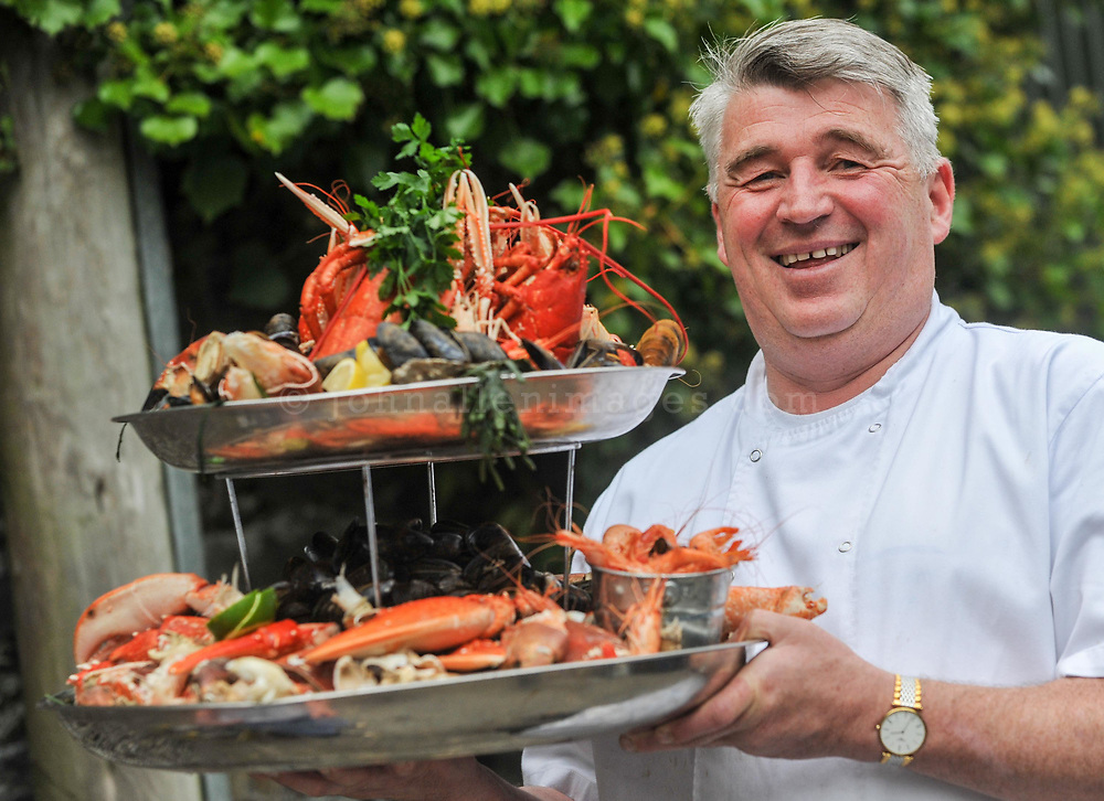 REPRO FREE<br /> Pictured at the 4-course Fruits de Mer Luncheon during the 39th Kinsale Gourmet Festival is chef Martin Shanahan with the seafood platter that's placed on every table.<br /> Picture. John Allen<br /> <br /> KINSALE GOURMET FESTIVAL PRESENTS:<br /> A WEEKEND OF FINE FOOD AND WINE IN A FUN ATMOSPHERE<br /> The 39th Kinsale Gourmet Festival takes place from 9-11 October 2015, promising a weekend of fine food and wine in a fun atmosphere.  The Festival is hosted by Kinsale's eleven Good Food Circle restaurants, which go to great lengths to display the talent of their chefs, and their beautifully presented food. The emphasis is on locally-sourced ingredients from sea and land, accompanied by carefully selected wines. The United States Ambassador to Ireland, Kevin O'Malley, will be a guest in Kinsale for Friday and Saturday's Good Food Circle events. Kinsale Gourmet Festival has many regular visitors from overseas, including the United States and Canada. There are still some tickets left for Friday evening's opening event, a champagne reception, courtesy of Laurent Perrier, and a 5-course 'Taste of West Cork' dinner in a Good Food Circle restaurant of your choice.  Meanwhile, everyone is welcome to the 'Cork Heat' of the All-Ireland Chowder Cook-Off on Friday afternoon, sponsored by Clóna.<br /> Acton's Hotel is the venue for the Cork Heat of the All-Ireland Chowder-Cook off  at 3pm on Friday 9 October.  The €5 admission fee includes the chance to win a €100 gift voucher from the Kinsale Good Food Circle, as well as a tasting sample of each chef's chowder, and free samples from specialised local brewers of craft beers and cider makers.  Some outstanding chefs are expected to compete, including the very popular winner of last year's Cork Heat, The Cornstore.  An entertaining afternoon is guaranteed, as the chefs display their skills with seafood, sharing their secret ingredients, as they compete to produce the tastiest chowder.  The winning chef will repre