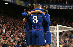 Chelsea's Gonzalo Higuain celebrates scoring his side's fourth goal of the game with team mates