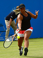 Tara Moore (GBR) in action during her match against Johanna Konta (GBR). The Aegon Open Nottingham 2017, international tennis tournament at the Nottingham tennis centre in Nottingham, Notts , day 2 on Tuesday 13th June 2017.<br /> pic by Bradley Collyer, Andrew Orchard sports photography.