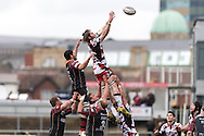 Ben Toolis of Edinburgh rugby (r) takes the ball from the top of the line out. Guinness Pro12 rugby match, Newport Gwent Dragons v Edinburgh Rugby at Rodney Parade in Newport, South Wales on Sunday 27th March 2016.<br /> pic by  Simon Latham, Andrew Orchard sports photography.