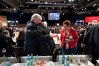 13 NOV 2009, DRESDEN/GERMANY:<br /> Michael Sommer (L), DGB Bundesvorsitzender, und Sigmar Gabriel (R), SPD Parteivorsitzender, Gratulationen nach Gabriels Wahl zum Parteivorsitzenden, SPD Bundesparteitag, Messe Dresden<br /> IMAGE: 20091113-01-405<br /> KEYWORDS: party congress, SPD Parteitag, Applaus, applaudieren, klatschen