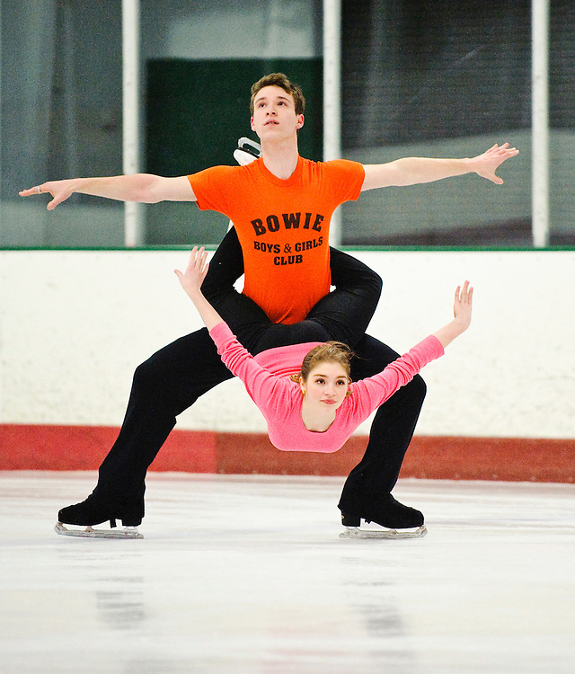 (staff photo by Matt Roth)..Ice dancers Travis Mager, 19, from Fulton, and Lauri Bonacorsi, 17, from Clarkesville, took sixth place in Junior Dance in the recent 2010 US Figure Skating Championships in Spokane, WA. The Columbia Figure Skating Club members rehearse at the Gardens Ice House in Laurel Thursday, February 25, 2010.