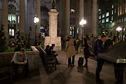 Friends greet each other amid the bustle of Cornhill, in the Square Mile, the heart of the capital's historical financial district, on 2nd October 2017, in the City of London, England.