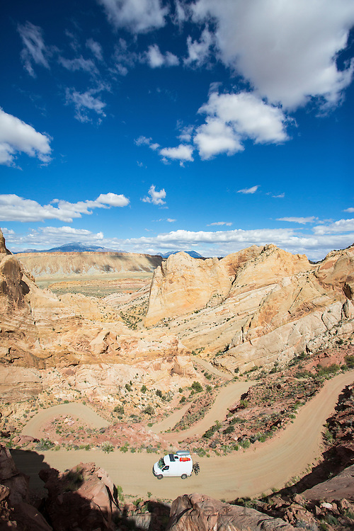Crazy switchback section of the Burr Trail in Southern Utah.