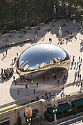 Cloud Gate Sculpture or The Bean in Millennium Park from above in Chicago USA