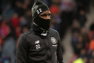 Odsonne Edouard of Celtic FC taking the warm up to the extreme ahead of the Betfred Scottish League Cup Final match between Rangers and Celtic at Hampden Park, Glasgow, United Kingdom on 8 December 2019.