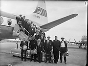 Irish Olympic Boxers leave for Rome..20.08.1960 Belfast boxers Bernard Meli & Adam McClean Bord Air Lingus Viscount for Rome