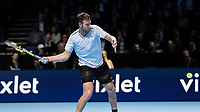 Tennis - 2017 Nitto ATP Finals at The O2 - Day Five<br /> <br /> Group Boris Becker Singles: Alexander Zverev (Germany) Vs Jack Sock (United States)<br /> <br /> Jack Sock (United States) spreads his frame ready to hit the forehand return at the O2 Arena<br /> <br /> COLORSPORT/DANIEL BEARHAM
