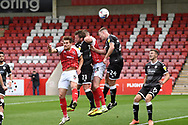 Goal  1 - 0  Tony Craig (24) of Crawley Town gets the final touch to a cross for an own goal to give the home side a 33rd minute lead during the EFL Sky Bet League 2 match between Cheltenham Town and Crawley Town at Jonny Rocks Stadium, Cheltenham, England on 10 October 2020.