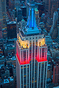 The Empire State Building is a 102-story landmark Art Deco skyscraper in New York City, United States, at the intersection of Fifth Avenue and West 34th Street. It is 1,250 ft (381 meters) tall.[6] Its name is derived from the nickname for New York, the Empire State. It stood as the world's tallest building for more than 40 years, from its completion in 1931 until construction of the World Trade Center's North Tower was completed in 1972. Following the destruction of the World Trade Center in 2001, the Empire State Building once again became the tallest building in New York City.