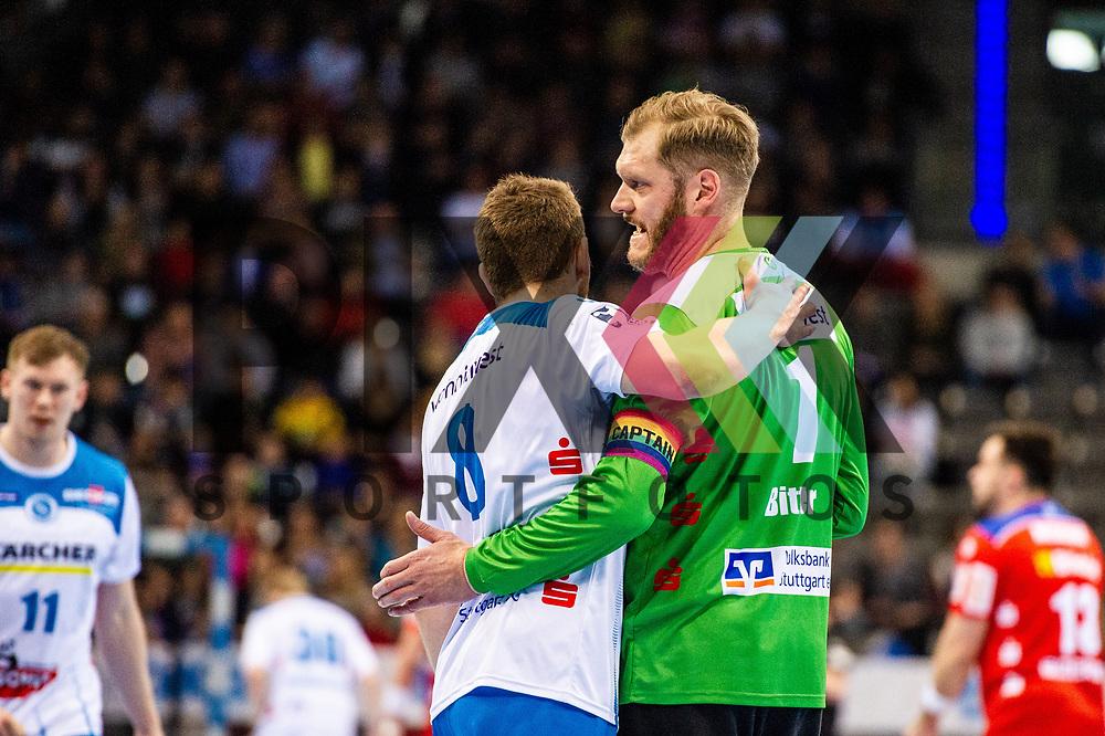 Johannes Bitter (TVB Stuttgart #1) ; Rudolf Faluvegi (TVB Stuttgart #8) beim Spiel in der Handball Bundesliga, TVB 1898 Stuttgart - HBW Balingen-Weilstetten.<br /> <br /> Foto © PIX-Sportfotos *** Foto ist honorarpflichtig! *** Auf Anfrage in hoeherer Qualitaet/Aufloesung. Belegexemplar erbeten. Veroeffentlichung ausschliesslich fuer journalistisch-publizistische Zwecke. For editorial use only.