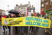 Locals from Dover, Folkestone and Thanet today called a demonstration to welcome refugees into the UK via Dover. Organised by Kent anti racism network. Dover, Kent.