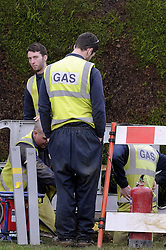 © Licensed to London News Pictures. 03/01/2013. 700 homes in the borough of Bromley,Kent are still without gas for a fifth day today (03.01.2013) after a burst water main in Locksbottom on Crofton Road (A232)  has wreaked havoc with the supply.  .Southern Gas Networks (SNG) has reconnected 950 of the 1,650 homes affected, having extracted 95,000 litres of water from gas pipes..The water main, located in Crofton Road, burst on Christmas Eve, causing water to leak into gas pipes..Local residents have been without gas since December 30..pic:Gas engineers working to repair the damage on Crofton Road..today.Photo credit : Grant Falvey/LNP