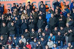 South stand after Falkirk's Craig Sibbald after scored his goal. Falkirk 1 v 2 Hibernian, Scottish Championship game played 31/12/2016 at The Falkirk Stadium .
