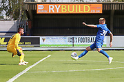 AFC Wimbledon striker Joe Pigott (39) controlling the ball and taking on Queens Park Rangers goalkeeper Matt Ingram (18) during the Pre-Season Friendly match between AFC Wimbledon and Queens Park Rangers at the Cherry Red Records Stadium, Kingston, England on 14 July 2018. Picture by Matthew Redman.