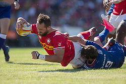 June 16, 2018 - Ottawa, ON, U.S. - OTTAWA, ON - JUNE 16: Luke Campbell of Canada scores his team's only try in the Canada versus Russia international Rugby Union action on June 16, 2018, at Twin Elms Rugby Park in Ottawa, Canada. Russia won the game 43-20. (Photo by Sean Burges/Icon Sportswire) (Credit Image: © Sean Burges/Icon SMI via ZUMA Press)