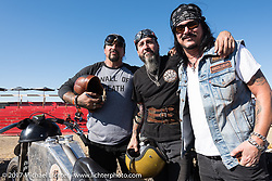 Rockstars! Billy Lane, Xavier Muriel of Buckcherry and Gilby Clarke of Guns and Roses after the Sons of Speed banked dirt oval racing at the Full Throttle Saloon during the annual Sturgis Black Hills Motorcycle Rally. Sturgis, SD. USA. Thursday August 10, 2017. Photography ©2017 Michael Lichter.