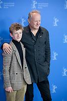 Actors Jon Ranes and Stellan Skarsgård at the photocall for the film Out Stealing Horses (Ut Og Stjæle Hester) at the 69th Berlinale International Film Festival, on Saturday 9th February 2019, Hotel Grand Hyatt, Berlin, Germany.