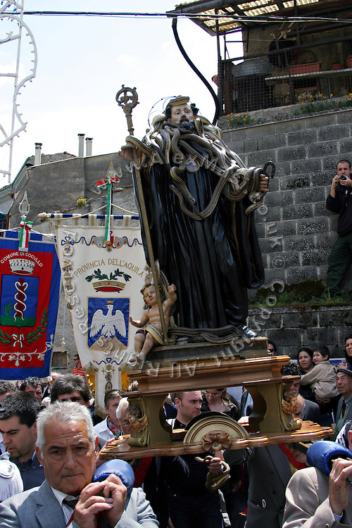 Statue of Saint Domenico covered in snakes during the snake Procession of Cocullo, one of the oldest pagan Christian celebrations still held today in Italy, on Thursday, May 5, 2005. Saint Domenico, the peculiar Saint of the event, was thought to protect from and heal snake bites. **ITALY OUT**