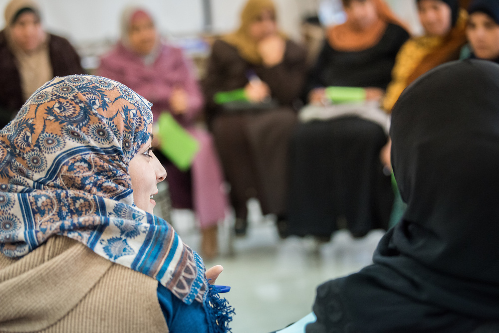 16 February 2020, Irbid, Jordan: Caregiver support session led by the Lutheran World Federation at the Islamic Centre in Al-Mazar, offering psychosocial support to Syrian refugee mothers and Jordanian host communities.