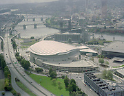 "Ackroyd C08854-1. ""Rose Garden Arena. stock."" (East waterfront at Steel Bridge) ""September 30, 1995"""