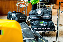 Bags prior to the departure of Slovenian Paralympic team for Pyeongchang 2018 Winter Paralympics, on March 3, 2018 in Letalisce Jozeta Pucnika, Brnik, Slovenia. Photo by Vid Ponikvar / Sportida