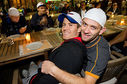 Jaka Lakovic of Slovenia and Gregor Zdolsek at dinner after the reception of Slovenia National basketball team after they placed 5th at Eurobasket 2013 on September 22, 2013 in Fan zone Kongresni trg, Ljubljana, Slovenia. (Photo by Vid Ponikvar / Sportida)