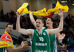 Goran Jagodnik, Bostjan Nachbar and Primoz Brezec (7) of Slovenia during the basketball match at Preliminary Round of Eurobasket 2009 in Group C between Slovenia and Spain, on September 09, 2009 in Arena Torwar, Warsaw, Poland. Spain won 90:84 after overtime. (Photo by Vid Ponikvar / Sportida)