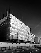 Building, covered in scaffolding, black and white, london