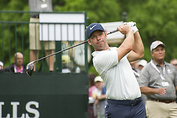 May 5, 2019 - Charlotte, North Carolina, United States of America - Paul Casey tees off on the first hole during the final round of the 2019 Wells Fargo Championship at Quail Hollow Club on May 05, 2019 in Charlotte, North Carolina. (Credit Image: © Spencer Lee/ZUMA Wire)