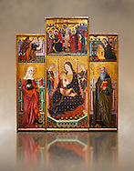 Gothic painted Panel Altarpiece of the Virgin Suckling the Child, Saint Clare and Saint Anthony the Abbott by the Workshop of Llorenc Saragossa. Tempera and gold leaf on wood. Date Last quarter of 14th century. Dimesions 207 x 187.5 x 10 cm. From Xelva (Valencia). National Museum of Catalan Art, Barcelona, Spain, inv no: 064027-CJT