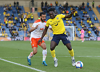Oxford United's Daniel Agyei and Blackpool's Kevin Stewart<br /> <br /> Photographer Rob Newell/CameraSport<br /> <br /> Sky Bet League One Play-Off Semi-Final 1st Leg - Oxford United v Blackpool - Tuesday 18th May 2021 - Kassam Stadium - Oxford<br /> <br /> World Copyright © 2021 CameraSport. All rights reserved. 43 Linden Ave. Countesthorpe. Leicester. England. LE8 5PG - Tel: +44 (0) 116 277 4147 - admin@camerasport.com - www.camerasport.com