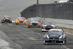 April 29, 2018 - Montalegre, Vila Real, Portugal - Johan KRISTOFFERSSON (SWE) in Volkswagen Polo R of PSRX Volkswagen Sweden (1R), Niclas GRONHOLM (FIN) in Hyundai  i20 of GRX Taneco Team (2R), Janis BAUMANIS (LVA) in Ford Fiesta of Team Stard (3R), Kevin HANSEN (SWE) in Peugeot 208 of Team Peugeot  Total (4L) and Kevin ERIKSSON (SWE) in Ford Fiesta of Olsbergs MSE (5L) in action during the World RX of Portugal 2018, at Montalegre International Circuit, on April 29, 2018 in Montalegre, Portugal. (Credit Image: © Dpi/NurPhoto via ZUMA Press)