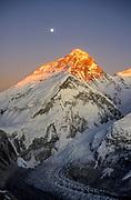 Moonrise Chomolungma, sunset on SW face & North face Mt Everest from Sth ridge Pumori, Khumbu Himal, Nepal Himalaya
