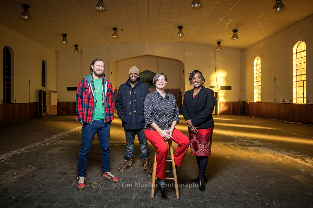 Four nonprofit leaders, from left, Dustin LaFont of Front Yard Bikes, Line4line founder O'Neil Curtis, Destiny Cooper of Humanities Amped and Gaylynne Mack of Big Buddy are planning to turn the former Sarkis Rugs store on Government Street into a youth center to provide services to children.