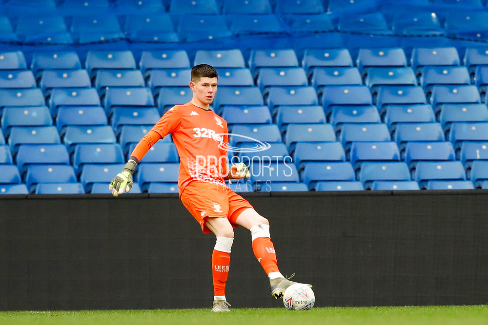 Leeds United goalkeeper Illan Meslier (1), on loan from Lorient,  during the U23 Professional Development League match between U23 Sheffield Wednesday and U23 Leeds United at Hillsborough, Sheffield, England on 3 February 2020.