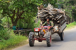 Man On Tractor Moving Wood And Plant Material