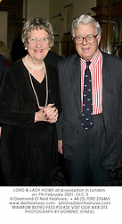 LORD & LADY HOWE at a reception in London on 7th February 2001.OLC 3
