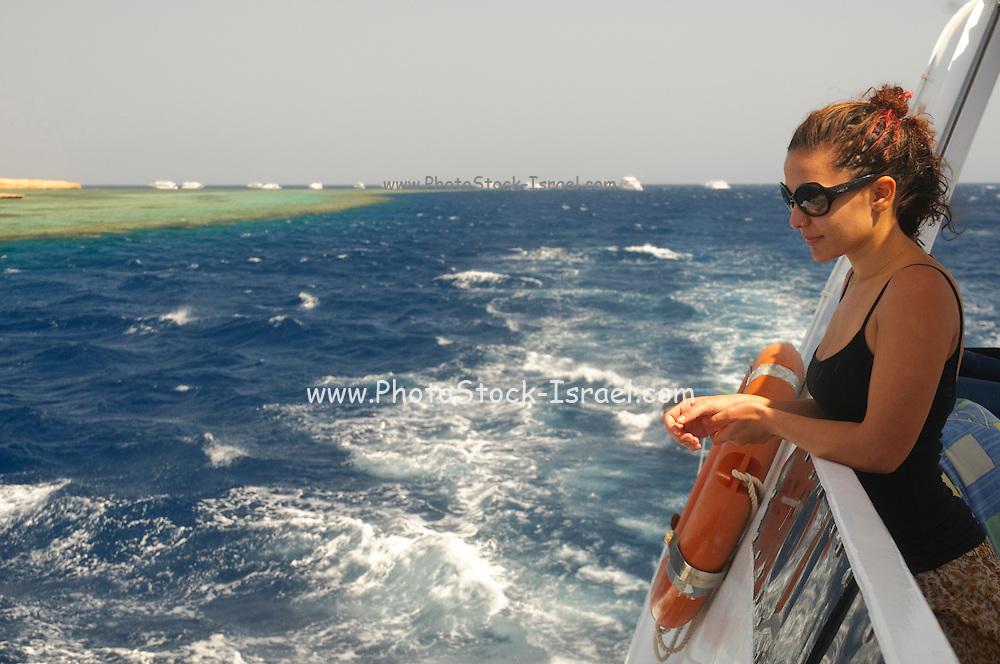 Egypt, Sinai, Red Sea Diving Safari Female tourist admires the view