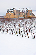 Chateau Clos de Vougeot in the snow.  France. .<br /> <br /> Visit our FRANCE HISTORIC PLACES PHOTO COLLECTIONS for more photos to download or buy as wall art prints https://funkystock.photoshelter.com/gallery-collection/Pictures-Images-of-France-Photos-of-French-Historic-Landmark-Sites/C0000pDRcOaIqj8E