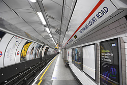 © Licensed to London News Pictures. 23/04/2020. London, UK. Tottenham Court Road Station platforms are empty during evening rush hour. Transport for London are furloughing a third of their staff as demand for the network falls drastically during the Coronavirus lockdown.  Photo credit: Guilhem Baker/LNP