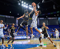 Middle Tennessee Blue Raiders guard Donovan Sims (3) rebounds during the Southern Mississippi Golden Eagles at Middle Tennessee Blue Raiders college basketball game in Murfreesboro, Tennessee, Saturday, March, 7, 2020.<br /> Photo: Harrison McClary/All Tenn Sports