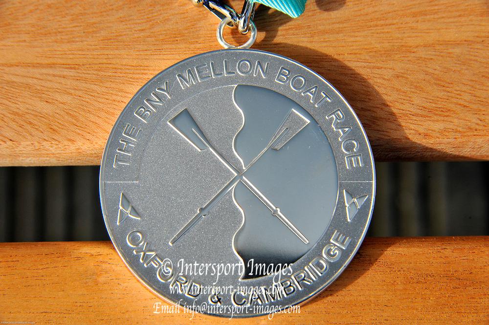 London, UK,  2014 Varsity, Annual Tideway Week. Thomas Fattorini. Winner's Medal. 04:59:59  Saturday  05/04/2014  : [Mandatory Credit Intersport Images]