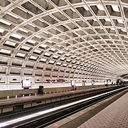 One of the distinctive domed stations of the Washington Metropolitan Area Transit Authority subway system in the Washington DC area. This station is in Ballston, Arlington, a few stops out from downtown Washington DC.
