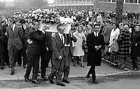 Funeral of Paul Crummey, 4 years, Finaghy Road North, Belfast, N Ireland, who was fatally shot by the Provisional IRA whilst playing in the garden of his home. The IRA were firing at a passing British Army patrol. 197305280328b.<br /> <br /> Copyright Image from Victor Patterson, 54 Dorchester Park, Belfast, UK, BT9 6RJ<br /> <br /> t1: +44 28 9066 1296 (from Rep of Ireland 048 9066 1296)<br /> t2: +44 28 9002 2446 (from Rep of Ireland 048 9002 2446)<br /> m: +44 7802 353836<br /> <br /> victorpattersonbelfast@gmail.com<br /> victorpatterson@me.com<br /> <br /> www.victorpatterson.com<br /> <br /> Please see my Terms and Conditions of Use at https://www.victorpatterson.com/page2<br /> It is IMPORTANT that you familiarise yourself with them.<br /> <br /> Images used on the Internet incur an additional cost and must be visibly watermarked i.e. © Victor Patterson within the body of the image and copyright metadata must not be deleted. Images used on the Internet have a size restriction of 4kbs and are chargeable at rates available at victorpatterson.com.<br /> <br /> This image is available only for the use of the download recipient i.e. television station, newspaper, magazine, book publisher, etc, and must not be passed on to any third party. It is also downloaded on condition that each and every usage is notified within 7 days to victorpatterson@me.com<br /> <br /> The right of Victor Patterson (or the named photographer) to be identified as the author is asserted in accordance with The Copyright Designs And Patents Act (1988). All moral rights are asserted.