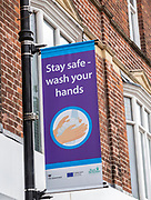 Stay safe wash your hands Covid 19 information poster, Newbury, Berkshire, England, UK