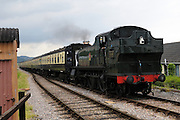 UK, 8 June 2009: A BR(W) '5101' 2-6-2T no 4160 locomotive heads towards Blue Anchor station on the West Somerset Railway. Photo by Peter Horrell / http://peterhorrell.com
