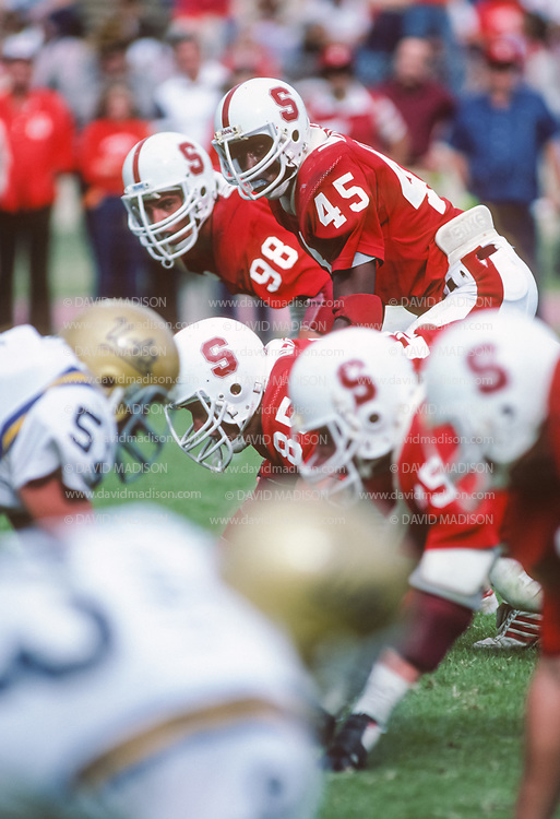 COLLEGE FOOTBALL:  Stanford vs UCLA on October 10, 1981 at Stanford Stadium in Palo Alto, California. Vaughn Williams #45, Jay Summers #98,  John Bergren #85..  Photograph by David Madison  www.davidmadison.com