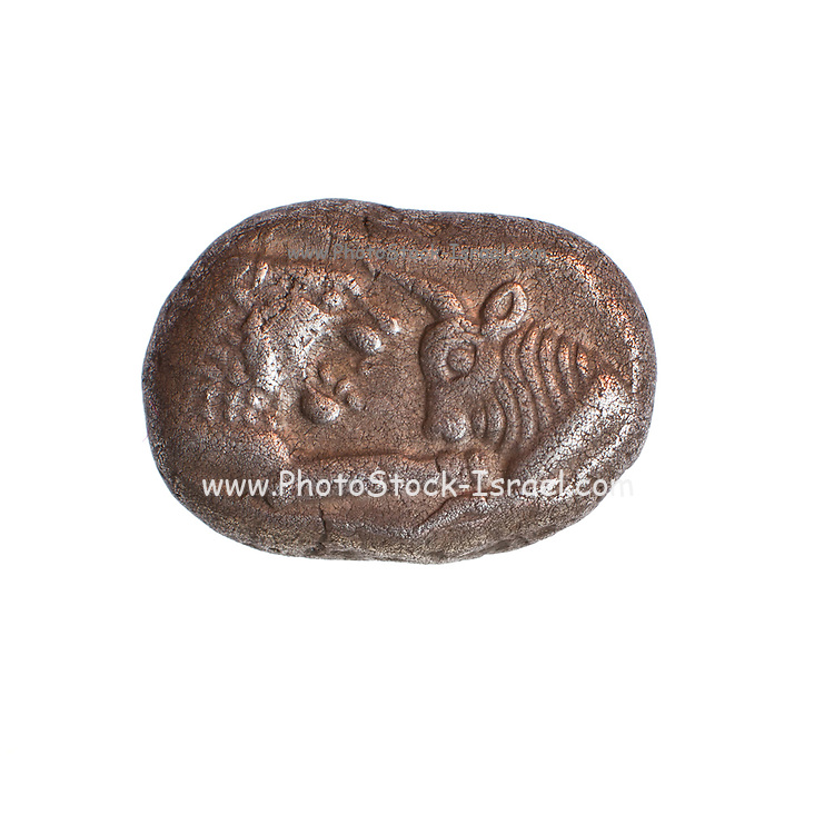 Croesus (Kroisos) ancient Greek coin 560-546 BCE. Silver Half-Stater Lion and Bull