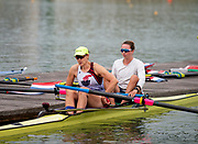 Plovdiv, Bulgaria, 9th May 2019, FISA, Rowing World Cup 1,  W2-, USA, USA4, (s) Emily HUELSKAMP, (b) Olivia COFFEY, preparing for training outing. <br /> [© Peter SPURRIER]